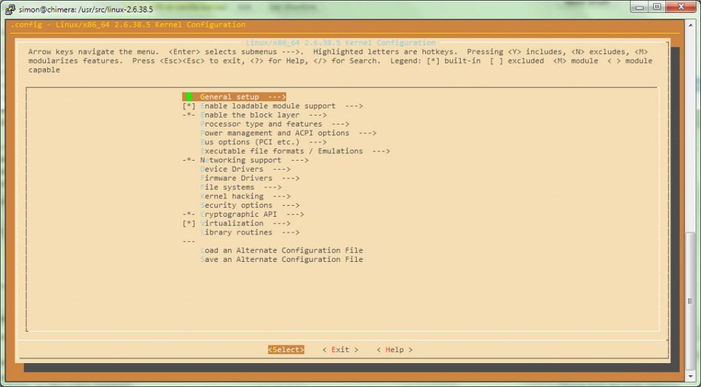"""Command line screenshot for """"make menuconfig"""""""