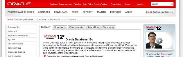 Screenshot Oracle 12c Website